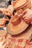How to make a clay pot Stock Photos