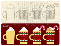 How to make decorated cup of christmas hot chocolate Stock Image