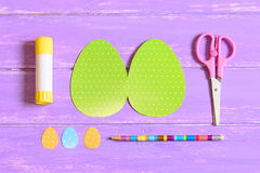 How to make Easter egg greeting card. Step. Guide. Children Easter paper crafts idea. Top view. Closeup Stock Image