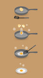 How to make fried egg step by step Stock Photos