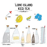 How to make an long island iced tea cocktail set with ingredients for restaurants and bar business vector illustration Royalty Free Stock Photos