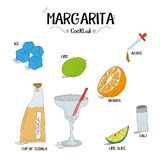 How to make an Margarita cocktail set with ingredients for restaurants and bar business vector illustration Stock Photos