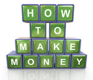How to make money. 3d render of reflective textbox of 'how to make money Royalty Free Stock Images