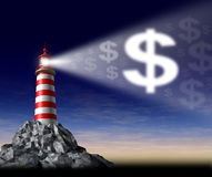 How to make money. Symbol with a lighthouse beaming a guiding light in the shape of a dollar sign as guidance and teaching financial freedom and success and Stock Photos