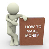 How to make money. 3d render of man with 'how to make money' book.  Human character 3d illustration Royalty Free Stock Image