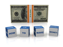 How to make money. 3d render of dollar bill and boxes how to make money Royalty Free Stock Photo