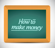 How to make money message on a blackboard. How to make money message written on a blackboard. illustration design Stock Image