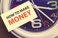 HOW TO MAKE MONEY ? message on white cardboard  in time vintage Royalty Free Stock Images