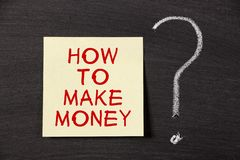 How To Make Money ?. How To Make Money note with a big chalk question mark on blackboard stock images