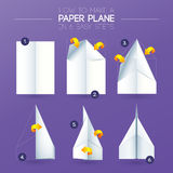 How to make origami Airplane paper folding. How to make origami Airplane – Instructions in 6 easy steps. Yellow arrows with white paper and purple stock illustration