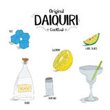 How to make an original Daiquiri cocktail set with ingredients for restaurants and bar business vector illustration Stock Photography