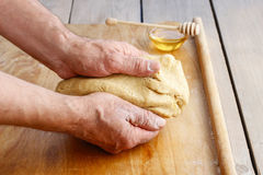 How to make a pastry - step by step: kneading a dough Stock Photos