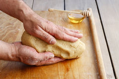 How to make a pastry - step by step: kneading a dough Royalty Free Stock Images