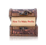 How to make profits. How to make profits word in treasure chest isolated on white background, Save clipping path. Business concept Royalty Free Stock Photo
