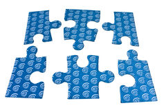 How to make a puzzle. Blue pieces of puzzle isolated on white background Royalty Free Stock Photography