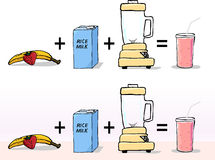 How to Make a Smoothie. Simple ingredients to make a zero cholesterol fruit smoothie with choice of white or colored background Stock Photos