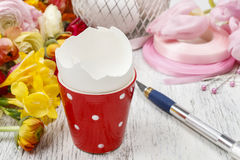 How to make spring bouquet of flowers in goose egg shell tutoria Royalty Free Stock Image