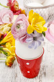 How to make spring bouquet of flowers in goose egg shell tutoria Stock Photos