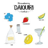 How to make an strawberry Daiquiri cocktail set with ingredients for restaurants and bar business vector illustration Royalty Free Stock Photography