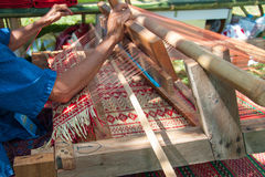 How to make Thai sedge mat. Traditional weaving dried sedge mat in Thailand stock photography