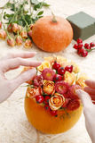 How to make a Thanksgiving centerpiece - step by step royalty free stock photography