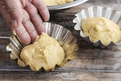 How to make yeast dough - step by step Royalty Free Stock Photo