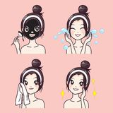 Treatment facial beauty from mud by beautiful girl. vector illustration