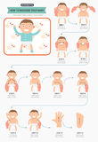 How to massage your baby infographic Royalty Free Stock Photography