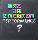 How to measure performance text on blackboard Stock Image