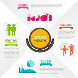 How to obtain good health and welfare infographic template Royalty Free Stock Image