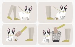 How to pick up dog poop using plastic bag and throw it in trash can, step-by-step manual or instruction. Way of cleaning. Up after pet during daily walk. Cute stock illustration