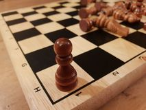 How to play wooden board game chess. Improvisation and Different angles of chess sets, pieces and chessboard. White and black figu stock photos