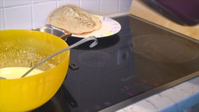 How to prepare pancakes stock video footage