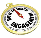 How to Reach Engagement Gold Compass Involvement Interaction. How to Reach Engagement words on a gold compass directing or guiding you to greater involvement Stock Images