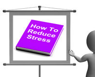 How To Reduce Stress Book Sign Shows Lower Tension Stock Photography