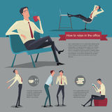 How to relax between work. Vector Illustration Businessman working office life. Letters on a red ribbon, gray background and blue with motion of the working Royalty Free Stock Images