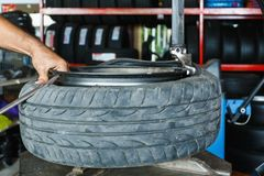 Free How To Remove The Tire From The Car Alloy Wheels. Royalty Free Stock Photography - 114223867