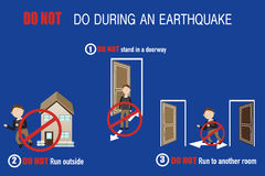 How to safe yourself from the earthquake. Warning Royalty Free Stock Photography