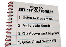 How to Satisfy Customers List Instructions Stock Photography