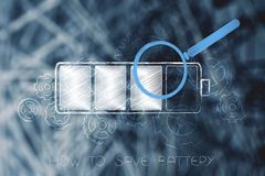 Battery with magnifying glass analysing it and gearwheel mechani Stock Photography