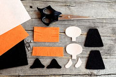 Free How To Sew A Halloween Witch Doll. Step. Cut Felt Parts To Create Halloween Witch Toy, Scissors On Old Wooden Background Stock Image - 77242081