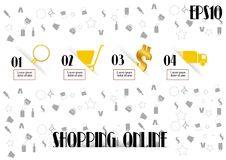 How to shopping on line template with icon. Stock Image
