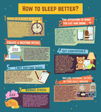 How to sleep better. Vector infographics. About healthy relaxation night dream illustration Royalty Free Stock Images
