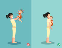 How to soothe a crying baby,wrong and right ,vector Royalty Free Stock Photos