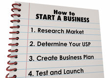 How to Start Business Company Launch List Stock Image