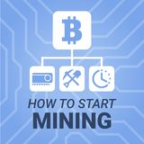 How to start mining cryptocurrency image with title on chipset background. Simply and style illustration for blog or website. How to start mining cryptocurrency Royalty Free Stock Images