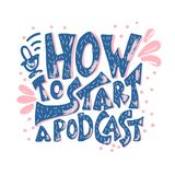 How to start a podcast quote. Vector illustration. How to start a podcast quote with decoration. Banner template with handwritten lettering and podcast design vector illustration