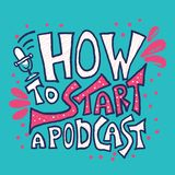 How to start a podcast quote. Vector illustration. How to start a podcast card with quote with decoration. Banner template with handwritten lettering and stock illustration