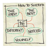 How to succeed tips. On an isolated cocktail napkin - be the first, the best, different, yourself, noticed Stock Photo