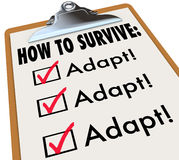 How to Survive Adapt Checklist Clipboard Advice Instructions Suc. How to Survive words on a checklist clipboard to give instructions and advice on change Royalty Free Stock Image